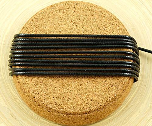 3M 9.9 Ft 3.3 Yds Jet Black Koreanisch Gewachsten Schnur Polyester Dekorativen Perlen-String-Thread-Draht-Umsponnenes Seil Verdreht Armband Schnur 2mm (Thread Gewachst Geflecht)