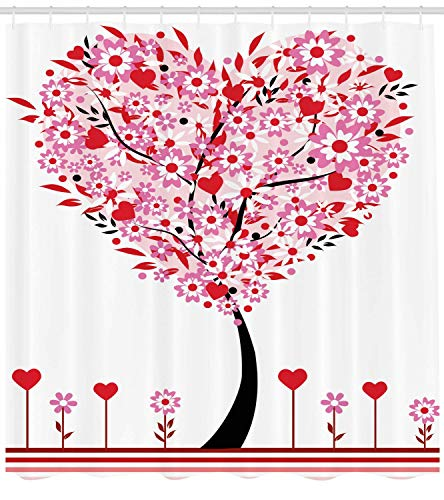 BUZRL Valentine Shower Curtain, Heart Shaped Tree Daisies Wildflowers Red Leaves Forest Romance Season Image, Fabric Bathroom Decor Set with Hooks, 60W X 72L Inche Extra Wide, Multicolor