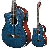 Lindo 960CEQ, klassische elektroakustische Gitarre für Linkshänder, Fichte, inkl. Tasche - Farbe: Picasso Blau