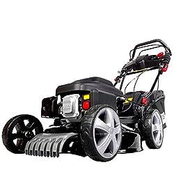BRAST Benzin Rasenmäher 2,5kW(3,4PS) Elektrostart Radantrieb 46cm Schnittbreite Stahlgehäuse 60L Fangkorb 4-Takt Motor TÜV geprüft