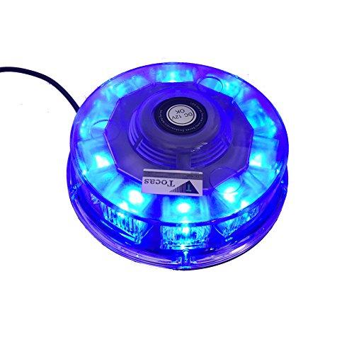 T Tocas(tm)12V LED Strobe de haute qualité Phare Voiture Feux Stroboscope Clignotant Flash Avertissement Strobe lampe pour Toit de véhicules automobiles Camions SUV , avec 7 mode de flash(Bleu)