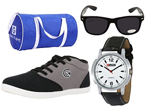 Globalite Combo Men's Casual Shoes GSC0461AMZ with Lotto Watch, Sunglass & Globalite Duffle Bag.