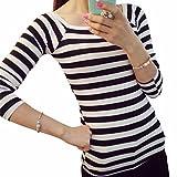 HUIHUI Damen Mode Baumwolle Blusen Lose Elegant T Shirt O-Ausschnitt Slim Fit Blusenshirt Plus Size Striped Baumwolle Bluse Festliche blusen Casual Unregelmäßige Tops S-XXL (Schwarz, L)