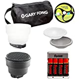 Gary Fong Portrait Lighting Flash Modifying Kit (Black/White/Gray/Amber) And Rechargeable Battery Pack