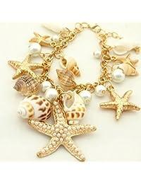 d01628fd835d41 OULII Bracciale Donna Braccialetto con Ciondolo Perla Stella di Mare  Conchiglie