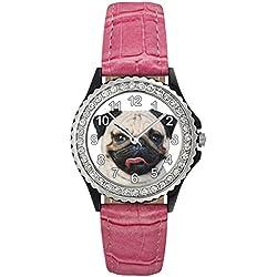 Reloj de cuero color rosa para mujer con piedrecillas y diseño carlino
