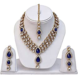 Shining Diva Blue Kundan Traditional Necklace Jewellery Set with Earrings for Women