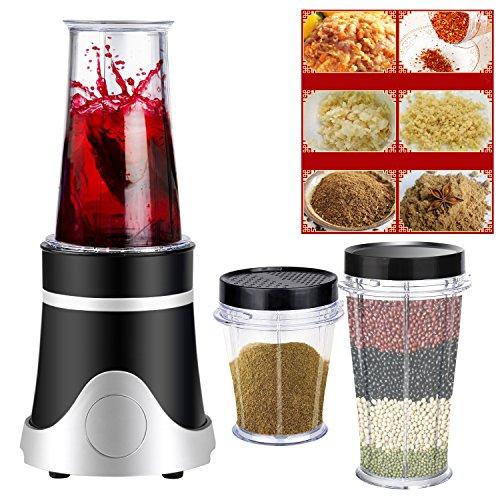 Meykey Mini Mixer Set Smoothie Maker, 4 Edelstahlmesser, Trinkflasche Grinding Cup Ice Cup und Deckel, 3 in 1, BPA Frei 250 Watt