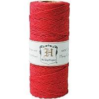 Hemptique - Rotolo di corda di canapa, 50 g, colore: Rosso