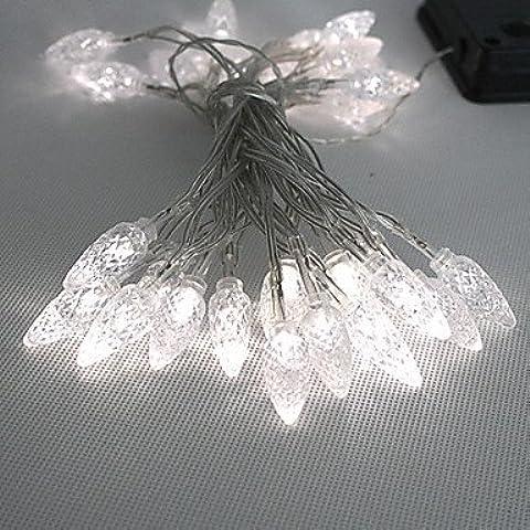 OUYANG 30led bianca a LED per esterni leggiadramente solare Luci di Natale Decor doni lampada (Bianca Leggiadramente Solare Luce)