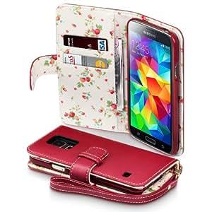 Terrapin Handy Leder Brieftasche Case Hülle mit Kartenfächer für Samsung Galaxy S5 Rot mit Blumen Interior
