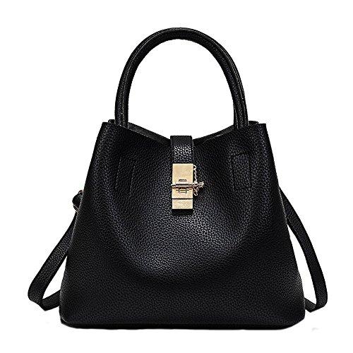Tasche Bags Loveso Damen Mode Elegante Mini Henkeltaschen Umhängetasche Satchel Handtaschen Taschen PU-Leder Handtasche Schultertaschen Mehrfach Taschen (Schwarz) (Leder-umhängetasche Schwarz Patent)