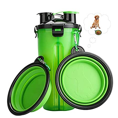 RIZON Tragbare Hunde Wasserflasche und Futterflasche 2-in-1 mit Faltbar Haustier Reisenapf (2er Set), Hunde Katzen…