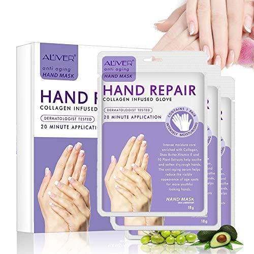Beruhigende Hafer (Hand Maske Handschuh Feuchtigkeitscreme Handmaske Feuchtigkeits Maske Hand Masken Für Trockene Hände, Handpeel-Maske, Spa-Handschuhe Feuchtigkeitsspendende Handschuhe für Rough Skin für Männer, Frauen)