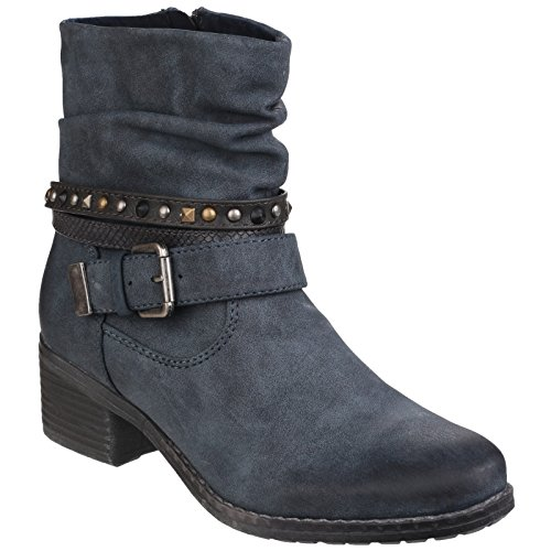 Divaz West Damen Zip up Mitte Schnalle Feature Stiefelette Navy