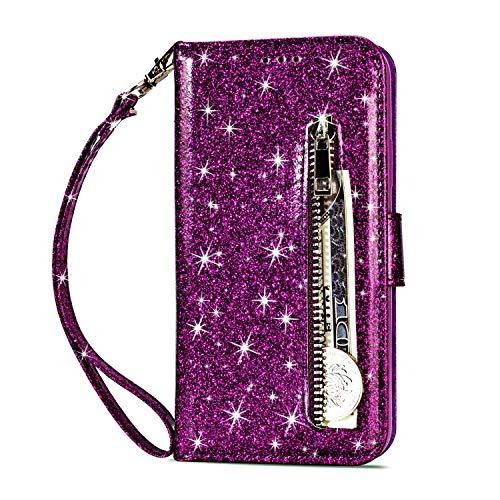 Artfeel Reißverschluss Brieftasche Hülle für Huawei Mate 20, Bling Glitzer Leder Handyhülle mit Kartenhalter,Flip Magnetverschluss Stand Schutzhülle mit Tasche und Handschlaufe-Lila -
