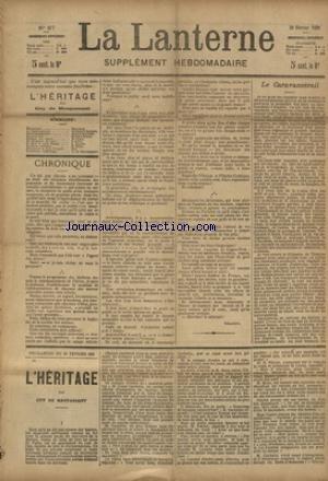LANTERNE (LA) [No 87] du 06/06/1886 - LE CARAVANSERAIL PAR DAUDET - LES CHAMPIGNONS PAR BOUVIER - LA COURONNE PAR HEROS - LA COUPEUSE DE TETES PAR LEVY - LA MORT DE MISS FANNY PAR CLARY - LA SANTE PUBLIQUE PAR LE DR MARC - FEUILLETON / L'HERITAGE PAR DE MAUPASSANT