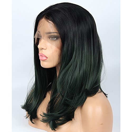 vvBing Short Dark Green Bob Cut Lace Front -