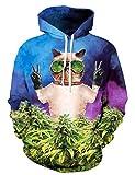 KamiraCoco Herren Kapuzenpullover 3D Druck Muster Hoodie Weihnachten Halloween Sweatshirt Pullover (L / XL, Sonnenbrille-Katze)