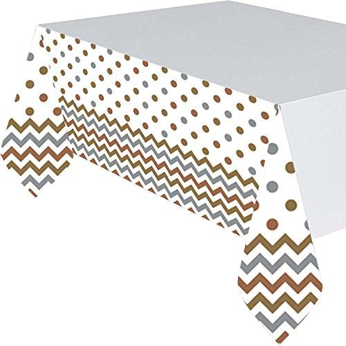 5716561.37X 2,6m Mixed Metals Chevron Kunststoff Tisch Cover ()
