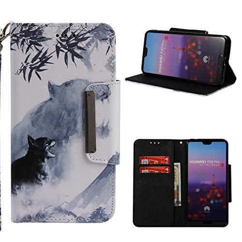 Klassikaline Huawei P20 Pro Hülle, PU Leder Flip Brieftasche / Wallet / Case / Tasche / Cover / Handytasche / Handy Zubehör / Lederhülle / Handyhülle mit Standfunktion Kredit Kartenfach Schutzhülle für Huawei P20 Pro - Wolf