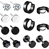 7 Pairs Stainless Steel Stud Earrings Black Zircon Earrings Small Hoop Earrings Barbell Dumbbell Stud Earrings for Men Women (Style Set 1)