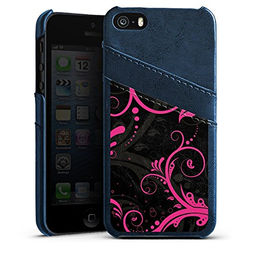 Apple iPhone 4 Housse Étui Silicone Coque Protection Ornements Rose vif Virages Étui en cuir bleu marine