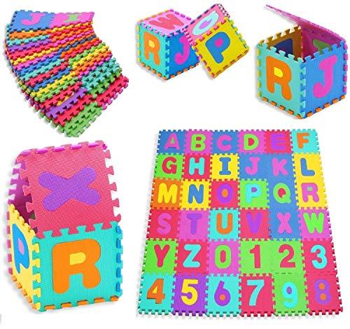 KIDIZ® Spielmatte 86 tlg. Spielteppich Puzzlematte Kinderteppich Matte Schutzmatte Kinderspielteppich Schaumstoffmatte ABC bunt Lernteppich Puzzleteppich Puzzle Zahlen und Buchstaben