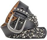 styleBREAKER Vintage Gürtel mit Nieten und Strass im 2-Tone Design, kürzbar, Damen 03010057, Farbe:Grau;Größe:105cm