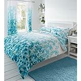 Juego de funda nórdica y funda de almohada, diseño floral de inspiración oriental, algodón poliéster, azul y blanco, matrimonio grande