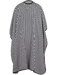 TRIXES Black and White Hairdressers Gown - Full Length Water Resistant Cape - Adjustable Size - for Hair Cutting and Styling