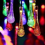 Solar Drop Lights, EONANT Water Drop Fairy Lights 20ft 30LEDs Solar Water Drop Waterproof for Outdoor, Garden, Christmas Decorations (Multicolor)