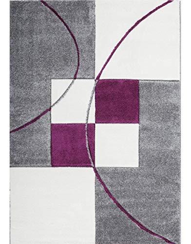 Keymura GmbH Designer Teppich Modern mit Konturenschnitt Karo Muster Kariert Prada 8001 Farbe Silber LILA - 80X300