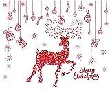 FABSELLER Wandaufkleber für Weihnachten, Hirsch, Fensteraufkleber, Dekoration, DIY Fensteraufkleber, Frohe Weihnachten, Weihnachten, Geschäfte, Dekoration (Rotes Hirsch)