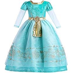 ELSA & ANNA® Princesa Disfraz Traje Parte Las Niñas Vestido de Navidad ES-MRD01 (MRD01, 4-5 Años)