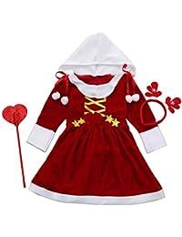 Bebé Niños Navidad Rendimiento Vestido de Navidad por MYQyiyi (Rojo, 6 años)