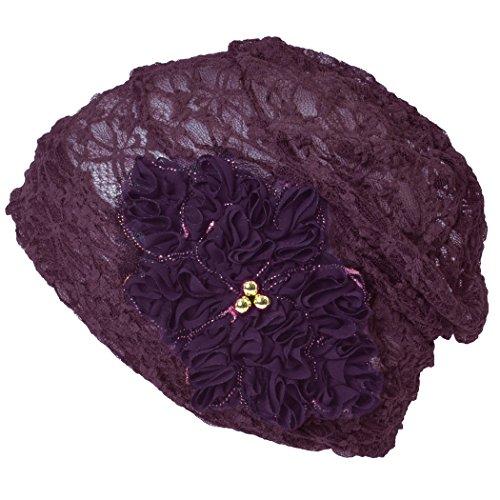 Casualbox Femmes Fleur Emblème Bonnet Été Chapeau Refroidissement Pourpre