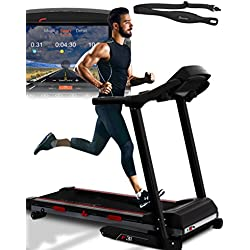 Sportstech F31 Professional Treadmill With Smartphone App Control MP3 AUX Bluetooth 4PS 16km/h - With Innovative Self-Lubrication Function - Foldable And Space-Saving Storage