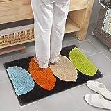 Yazidan Badematte in vielen Formen Ellipse Muster Rutschfester Badvorleger Premium Badteppich Rutschfest Weich Waschbar Duschvorleger aus Chenille Teppich für Badezimmer Küche Schlafzimmer