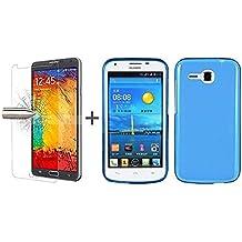 TBOC® Pack: Funda de Gel TPU Azul Claro + Protector Pantalla Vidrio Templado para Huawei Ascend Y600. Funda de Silicona Ultrafina y Flexible. Protector de pantalla Resistente a Golpes, Caídas y Arañazos.