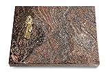MEMORUM Grabmale Grabtafel, Grabplatte, Grabstein, Grabkissen, Urnengrabstein, Liegegrabstein Modell Pure 40 x 30 x 3-4 cm Paradiso-Granit, Poliert inkl. Gravur (Bronze-Ornament Maria)
