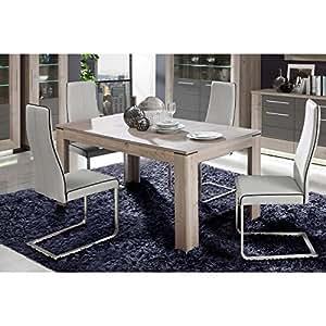Table extensible 160/206 cm - Décor chene nelson et gris