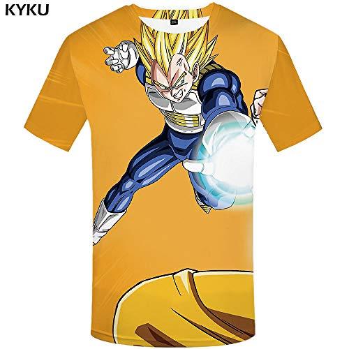 478c8ea4d6ba6 KYKU Dragon Ball ZT Camisa Goku Camisetas Yellow Hair Tops Roar Camiseta  Camisetas Ropa Hombre Manga