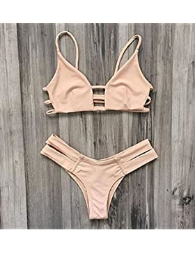 Split bañador _ bandas de color sólido es moderno y cómodo bikini bañador split beige, M-Series L