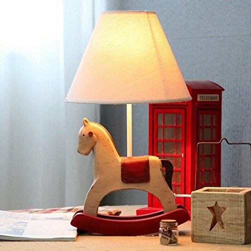 AMOS Retro nostalgische hölzerne Pferd Schlafzimmer Lampe einstellbare Licht Tier Karikatur Kinder Schlafzimmer Nachttischlampe (Hölzerne Lampe)