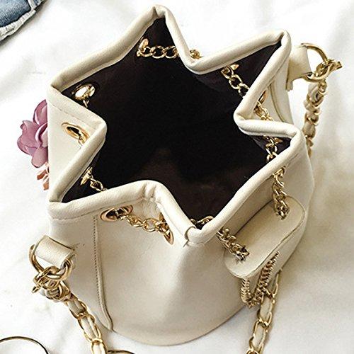 AiSi Damen Mädchen Kaktus 3D Blumen Design Leder Umhängetasche Beuteltasche Tasche, Handtasche mit Kordelzug, Ledertasche mit Schulterriemen Weiß Schwarz Beige Blumen Beige