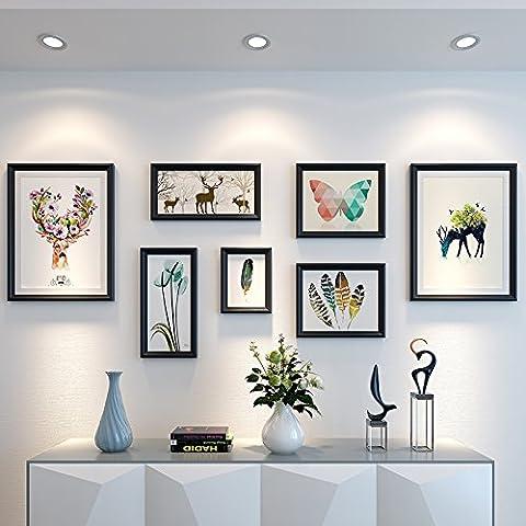 Hjky Cadre photo murale Ensemble le dessin peintures peintures à décorer le canapé muraux Restaurant Nordic murale Tableaux sont suspendu Combinaison d'américain de style minimaliste moderne, plaques de 25mm d'épaisseur, Noir pur Naturel Monogatari