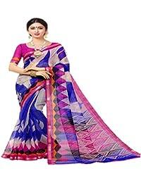 Blue and Pink Printed bhagalpuri silk designer saree