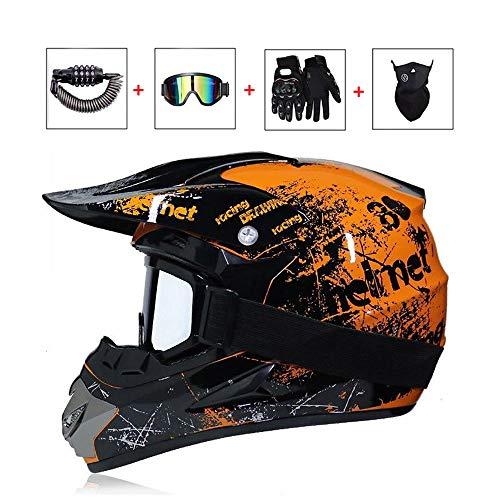 LEENY Motocrosshelm Herren Crosshelm Set mit Brille/Maske/Handschuhe/Schloss, Motorrad Sports Off-Road Enduro Downhill Helm ATV MTB BMX Quad Motorräder Cross-Helm für Männer Damen,Orange,XL