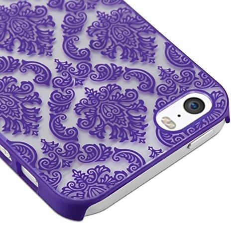 Cadorabo - Mandala Hard Cover Slim Case passend für >            Apple iPhone 5 / 5S / SE            < Paisley Henna Hülle in TRANSPARENT mit SCHWARZ LILA